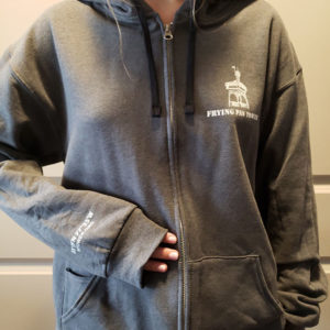 Frying Pan Tower Hoodie in Gray - Front View