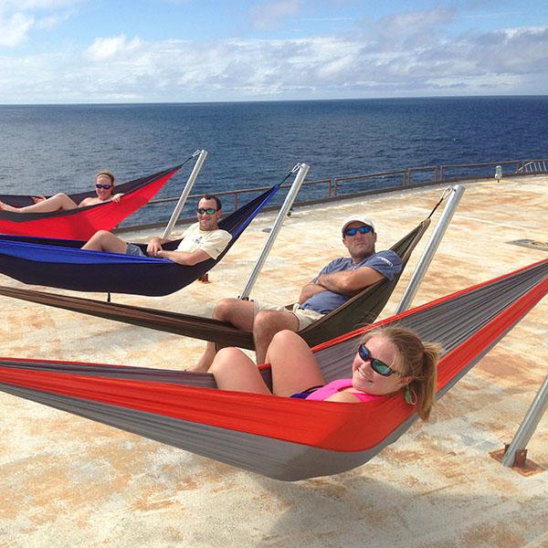 Relaxing in Hammocks on the Helipad